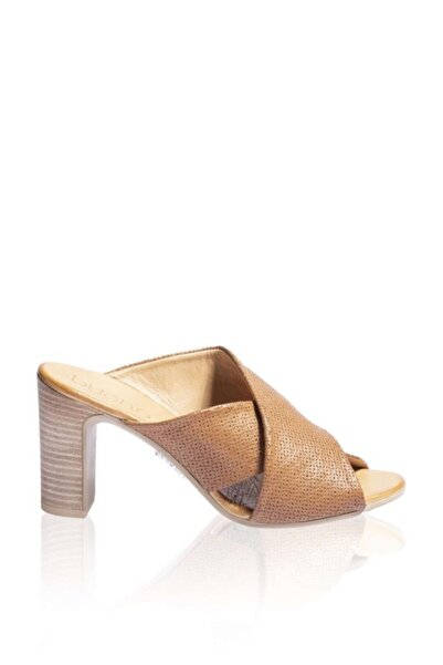 BUENO Shoes Çapraz Detay Hakiki Deri Kadın Topuklu Terlik 9n4303