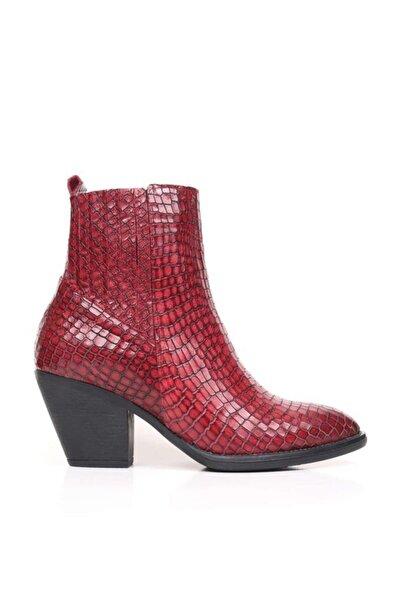 BUENO Shoes Timsah Baskılı Hakiki Deri Kadın Topuklu Bot 9p4000
