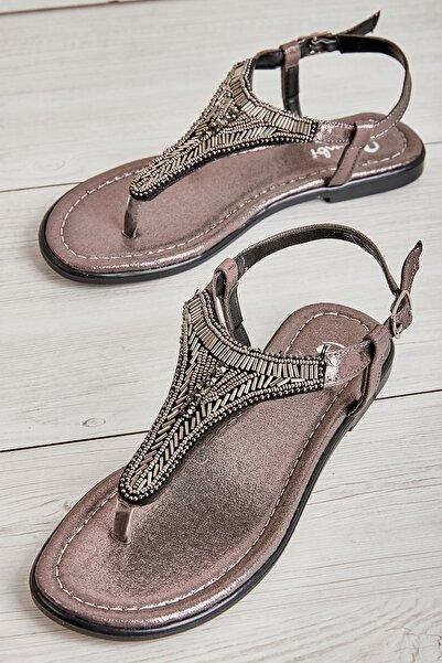 Bambi Platin Kadın Sandalet L0625020478