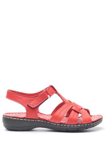Bulldozer 191594 Kırmızı Kadın Deri Sandalet