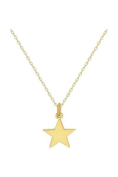 Chavin Yıldız Gümüş Altın Kaplama Bayan Mini Kolye Ee66