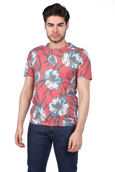 Phazz Brand Erkek Çiçek Desenli Bisiklet Yaka T-shirt