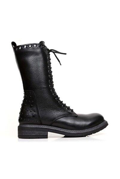 BUENO Shoes Bağcıklı Ve Troklu Hakiki Deri Kadın Düz Bot 9m1702