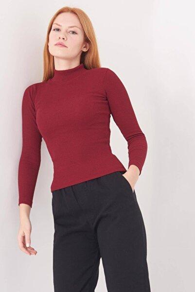 Addax Kadın Bordo Yarım Balıkçı Yaka Bluz B1008 - S9 ADX-0000016244