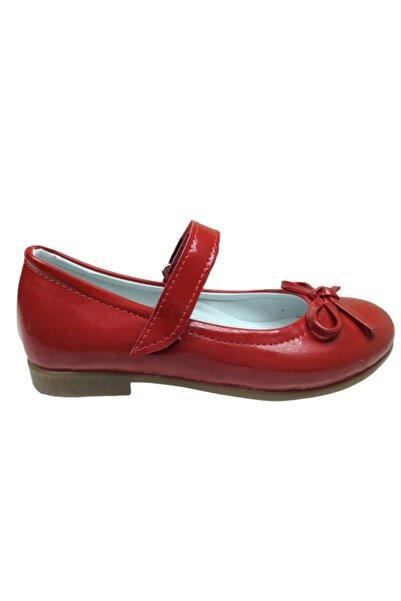 ORTAÇ Ortopedika Patik Kırmızı Rugan Bıyık Fiyonk Kız Çocuk Babet Ayakkabı Içi % 100 Deri Abiye
