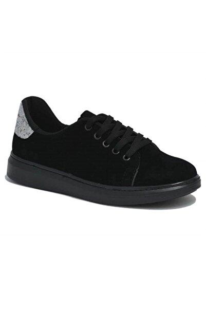 David Jones Kadın Spor Ayakkabı Siyah Süet Lame Camkırığı