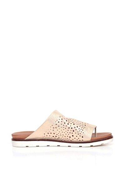 BUENO Shoes Delik Desenli Hakiki Deri Kadın Düz Terlik 9n1702