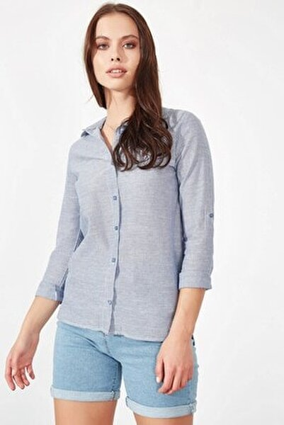 Çizgili Gömlek - Mavi