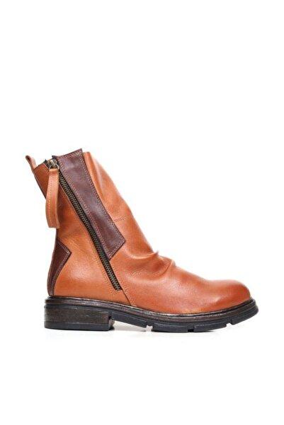BUENO Shoes Iki Fermuarlı Hakiki Deri Kadın Düz Bot 9p2609
