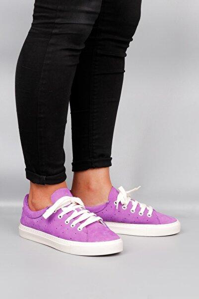 BUENO Shoes Hakiki Deri Yanları Nokta Detaylı Bağcıklı Kadın Spor Ayakkabı 20wq4700