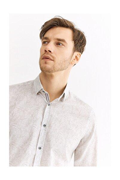 Avva Erkek Açık Gri Baskılı Alttan Britli Yaka Slim Fit Gömlek A01y2004