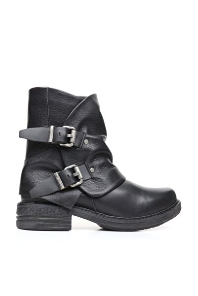 BUENO Shoes Çift Kemerli Yakma Hakiki Deri Kadın Düz Bot 9k3502