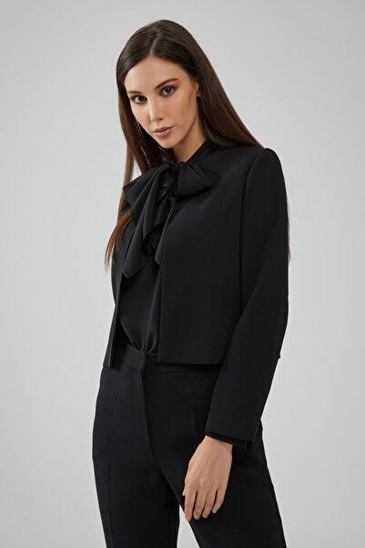 Gusto Sıfır Yakalı Klasik Kısa Ceket - Siyah
