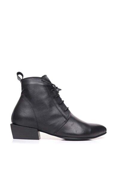 BUENO Shoes Bağcıklı Alçak Topuk Hakiki Deri Kadın Düz Bot 9p7100