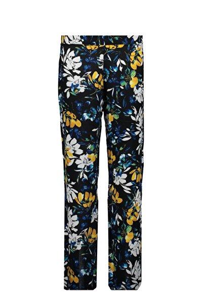 Collezione Siyah Çiçek Desenli Kadın Pantolon