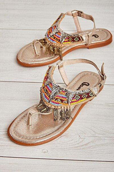 Bambi Altın Kadın Sandalet