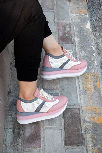 BUENO Shoes Hakiki Deri File Detaylı Bağcıklı Kadın Spor Ayakkabı 20wq10402