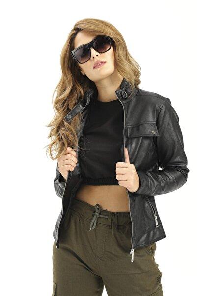 ModaPlaza Kadın Cep Fermuarlı Kısa Siyah Deri Ceket 1024