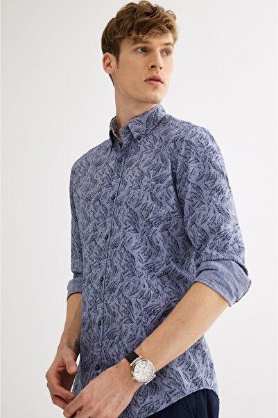 Avva Erkek Koyu Mavi Baskılı Düğmeli Yaka Slim Fit Gömlek A01y2020