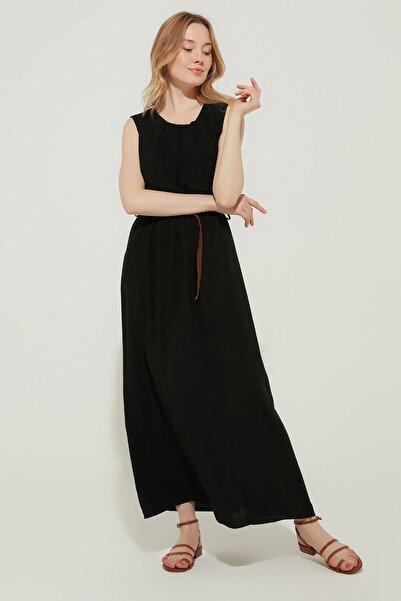 ZİNDİ Kadın Uzun Beli Lastikli Elbise Siyah