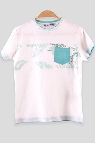 Breeze Erkek Çocuk Tişört Cepli Yaprak Baskılı Turkuaz (5-12 Yaş)
