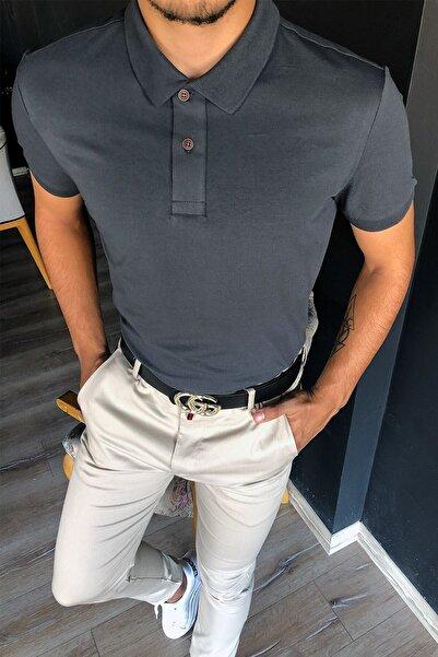Terapi Men Erkek Tek Renkli Polo Yaka T-shirt 20y-3400714 Antrasit