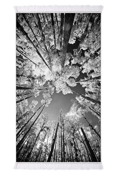 EXCLUSIVE Toprak Dijital Halı Saçaklı Della Orman Siyah