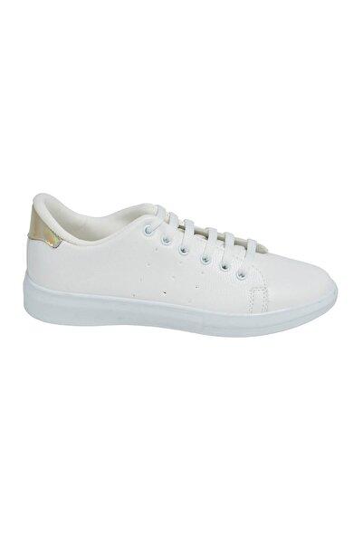 David Jones Kadın Spor Ayakkabı Beyaz Cilt / Altın