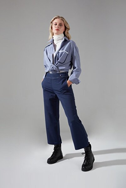 Mizalle Dikiş Detaylı Pantolon (Indigo)