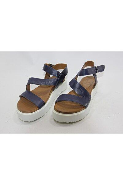 İnci Bayan Lacivert 38 Numara Hakiki Deri Sandalet Ayakkabı
