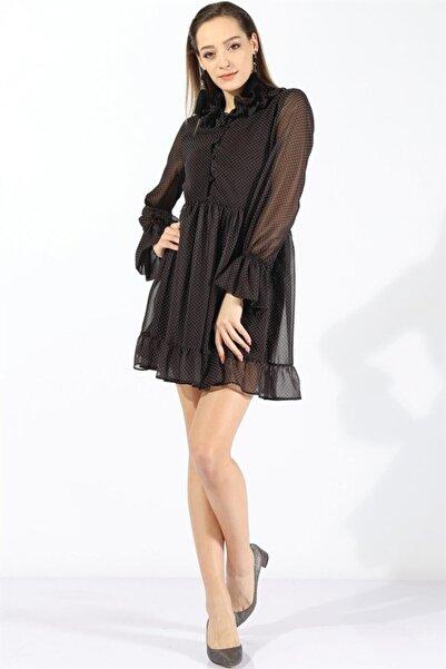 Twister Jeans Kadın Bayan Yaka Fırfırlı Astarlı Şifon Elbise 19694 Sıyah