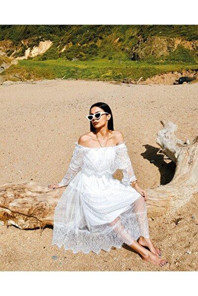 Fashion Fox Kadın Beyaz Madonna Mevlid Kına Nişandantel Elbise 9369
