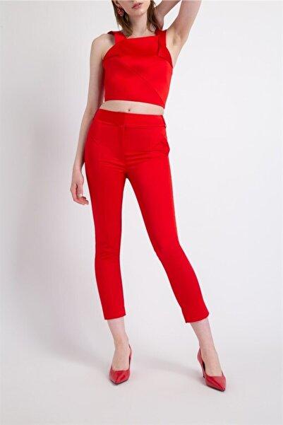 rue. Geometrik Kup Cep Detaylı Pantolon Kırmızı