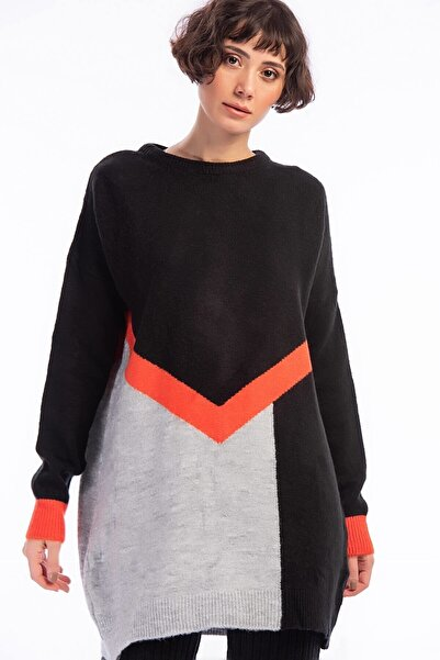 Cotton Mood 20026083 Triko Yumoş Iplik 3 Renkli Intersiye Tunik Sıyah