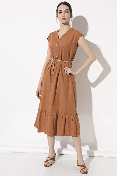 Arma Life Apoletli Volanlı Elbise - Tarçın