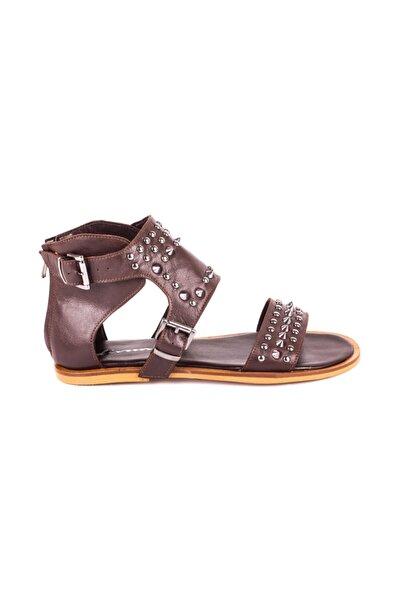 DİVUM Kahverengi Deri Sandalet