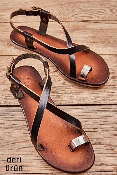 Bambi Platin/sıyah Kadın Sandalet L0685162103