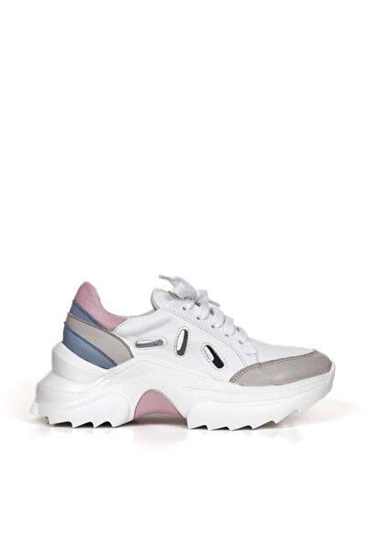 BUENO Shoes Hakiki Deri Yanları Delikli Bağcık Detaylı Kadın Spor Ayakkabı 20wq10100