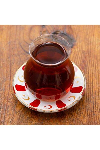 Refikadan Kırmızı Ayyıldız Tabaklı Gönlübol Çay Bardağı
