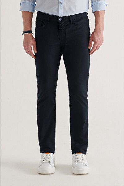 Avva Erkek Lacivert 5 Cepli Armürlü Slim Fit Pantolon A11y3031