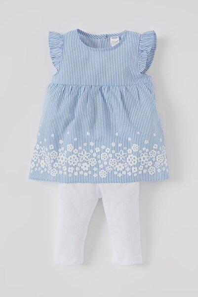 DeFacto Kız Bebek Çizgi Desenli Pamuklu Bluz Ve Tayt Takımı