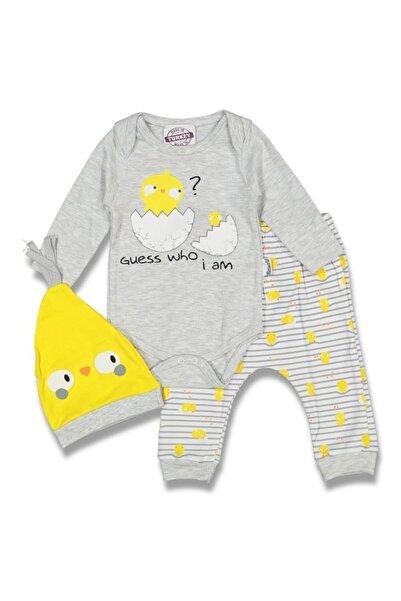 bebegen Erkek Bebek Sarı Gri Yumurta Desenli 3'lü Takım