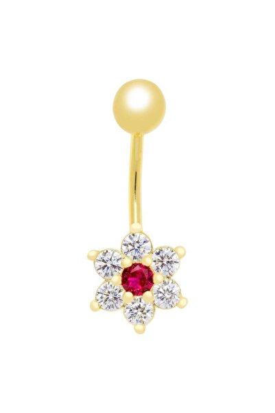 Myra Gold Renkli Taşlı Çiçek Detaylı Altın Piercing