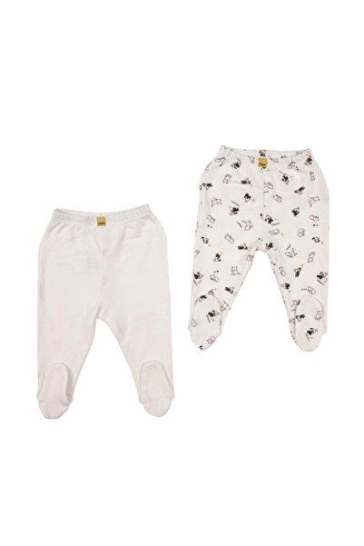 Bebepan Unisex Bebek Beyaz Pets 2'li Patikli Pantolon 0 3 Ay Yenidoğan