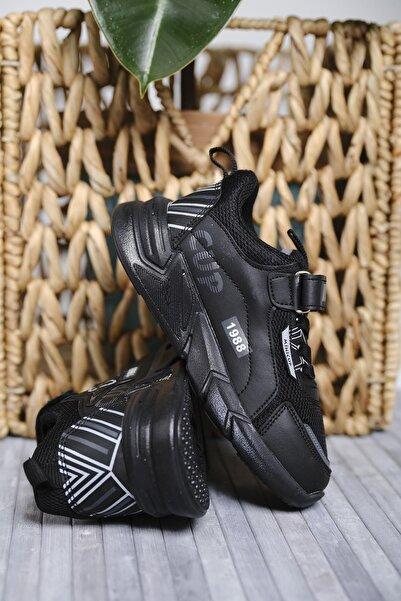 Oksit Unisex Çocuk Siyah Mc Kassidy Baskı Detaylı Fileli Kalın Taban Sneaker