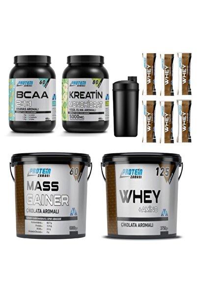 Protein Zamanı Whey Protein Tozu 3750 gr Mass Gainer 6000 gr Bcaa Kreatin Kombinasyonu