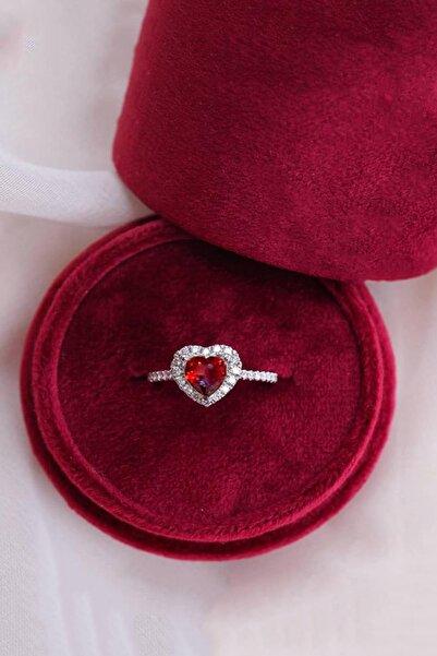 LOTUS GÜMÜŞ Kalp Baget Kırmızı Taşlı Ayarlanabilir Kadın 14 K Rose Altın Kaplama Yüzük