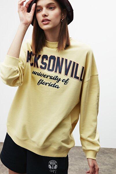 GRIMELANGE Ramona Kadın Önü Baskılı Sweatshirt Sarı
