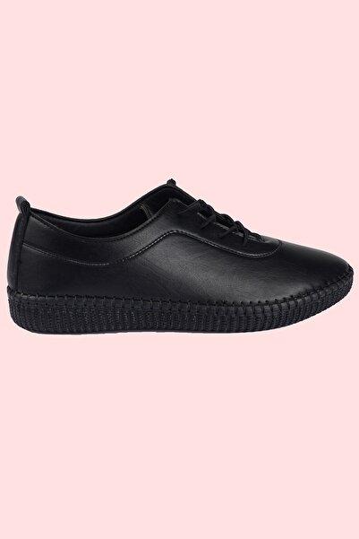 Hoba Kadın Ortopedik Siyah Lastik Bağcıklı Içi Deri Alçak Topuklu Günlük Rahat Ayakkabı