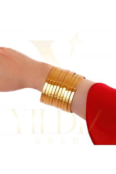 Yıldız Gold İmitasyon 22 Ayar Altın Kaplama Düz Model Parlak Ajda Bilezik